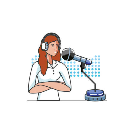 cute young woman with earphones and microphone vector illustration design Иллюстрация