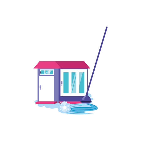 Cleaning mop and house design, Object home work hygiene equipment domestic and housework theme Vector illustration