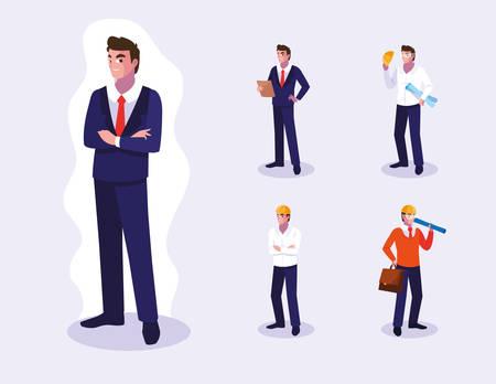 Set di progettazione dei lavoratori, occupazione lavorativa persona lavoro dipendente aziendale e tema del servizio Illustrazione vettoriale