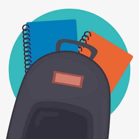 back to school supplies backpack notebooks vector illustration Çizim
