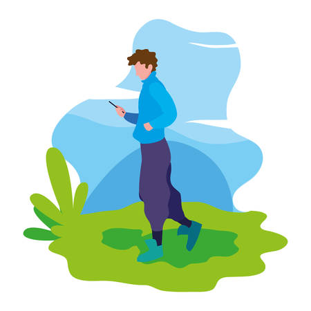 man using smartphone in the landscape vector illustration