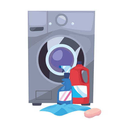 washing machine laundry bottles cloth soap cleaning products vector illustration