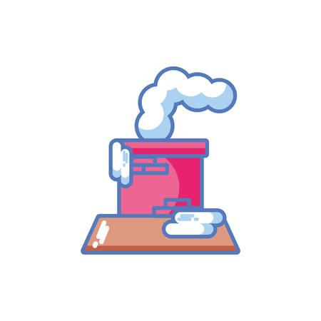 smoking chimney in christmas on white background vector illustration design