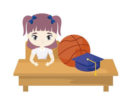 Fille étudiante assise dans le bureau de l'école avec des fournitures de conception d'illustration vectorielle de l'éducation
