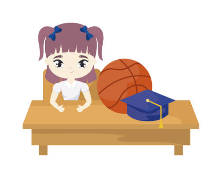 student girl sitting in school desk with supplies education vector illustration design