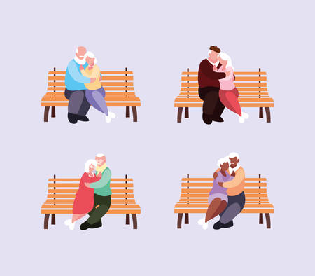 old couples seated in chairs of park vector illustration design