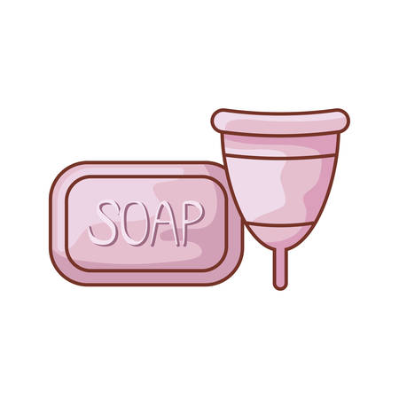 menstrual cup with bar soap isolated icon vector illustration design