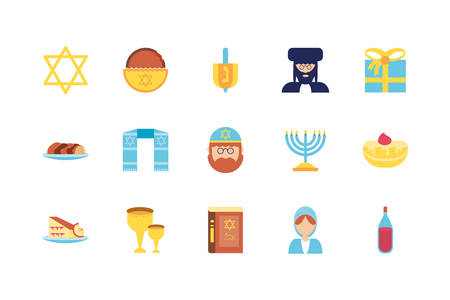 Jewish icon set design, Hanukkah holiday celebration judaism religion festival traditional and culture theme Vector illustration