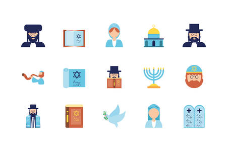 Jewish icon set design, Hanukkah holiday celebration judaism religion festival traditional and culture theme Vector illustration