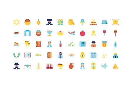 Jewish icon set design, Hanukkah holiday celebration judaism religion festival traditional and culture theme Vector illustration Vektorové ilustrace