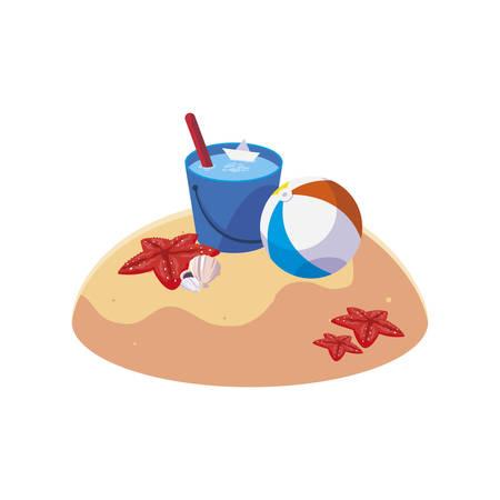 summer sand beach with water bucket scene vector illustration design