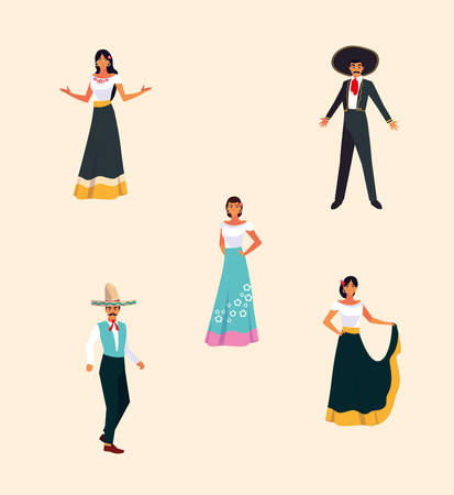 bundle Mexican fiestas with set icons vector illustration design