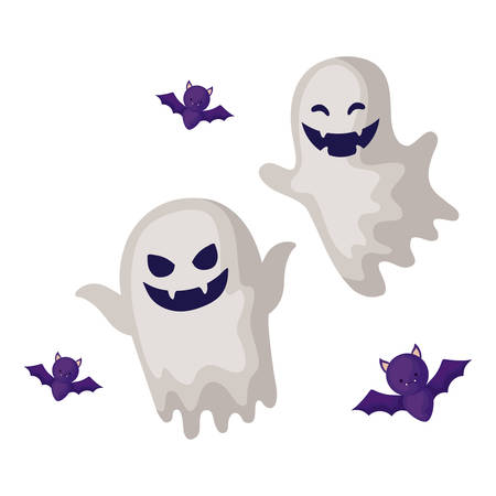 halloween ghost with bats flying in white background vector illustration design