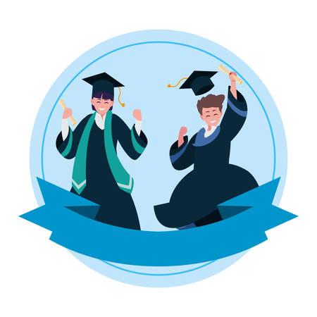 happy students boys graduated celebrating vector illustration design  イラスト・ベクター素材