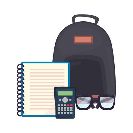 backpack notebook calculator back to school vector illustration