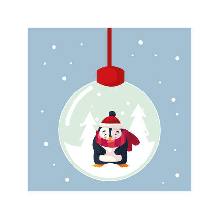 cute christmas ball with penguin in winter landscape vector illustration design