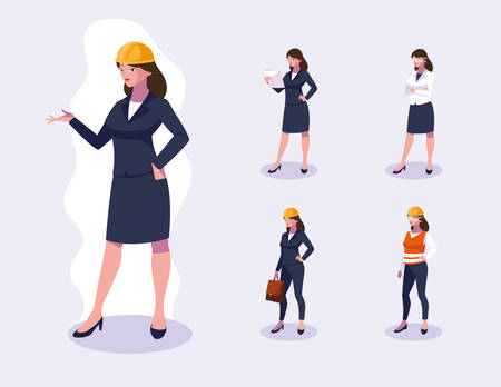 Set of workers design, Working occupation person job corporate employee and service theme Vector illustration
