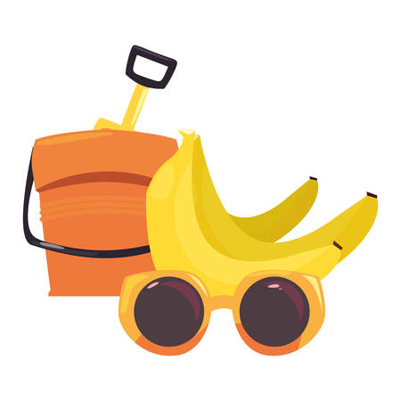 banana sunglasses and bucket vacations tropical summer vector illustration Illustration