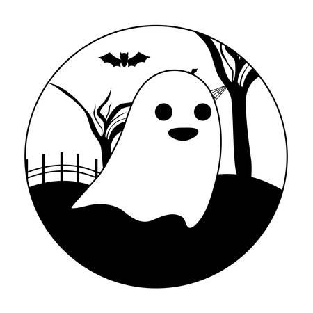 ghosts mysteries over halloween scene, vector illustration