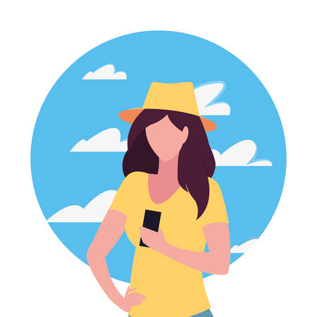 young woman using smartphone social media vector illustration Vectores