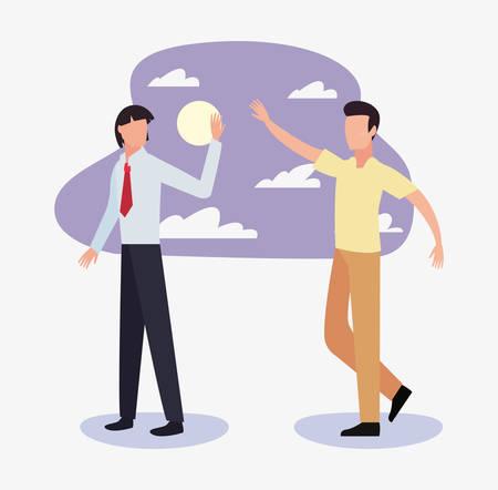 businessman and man waving hand outdoor vector illustration