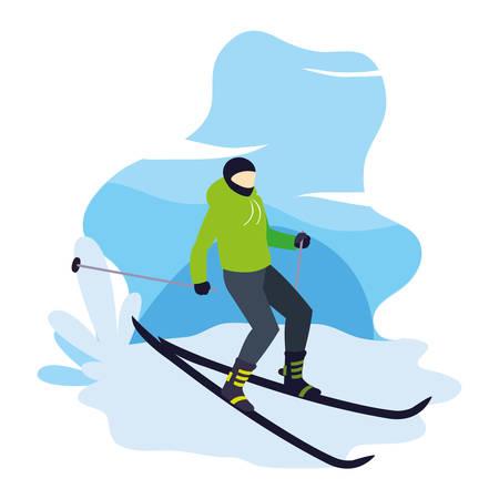 man skiing extreme sport and lifestyle vector illustration Vektorgrafik