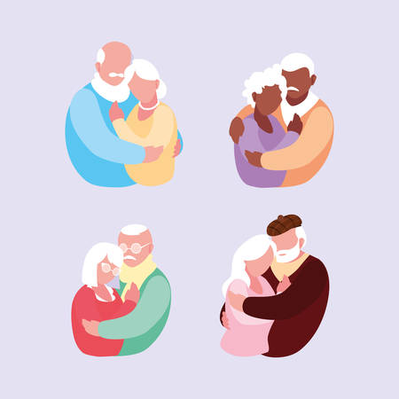 group of old couples hugged vector illustration design