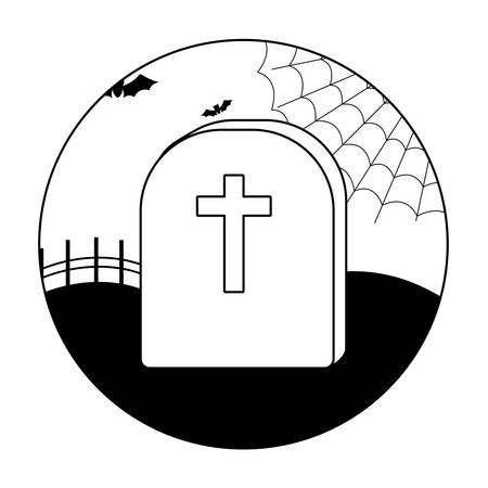 tombstone with ghost and bats flying overhalloween scene, vector illustration