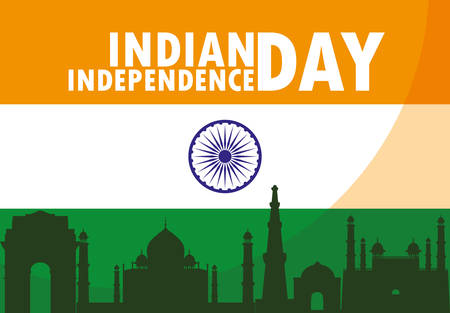 indian independence day with flag and buildings monuments vector illustration design