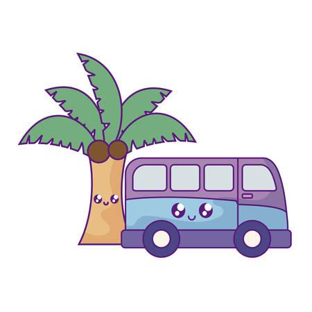 van vehicle with palm tropical   vector illustration design Illustration