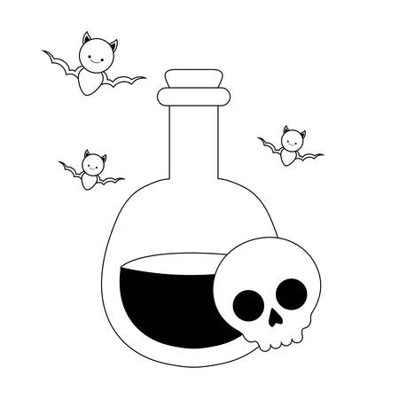 silhouette of laboratory instrument with icons of halloween vector illustration design