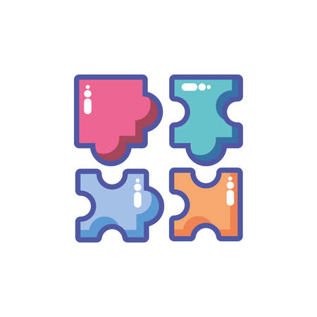 colorful puzzle pieces in white background vector illustration design 向量圖像