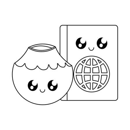 passport id document with cocktail coconut kawaii vector illustration design
