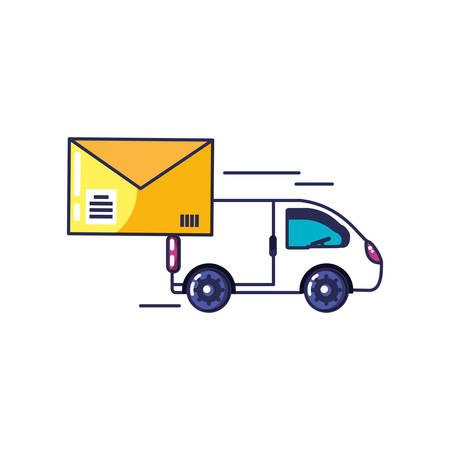 van vehicle transportation with envelope vector illustration design