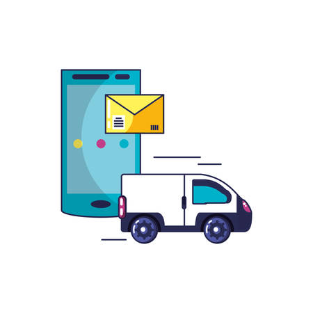 van vehicle and smartphone with envelope vector illustration design