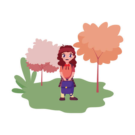 student girl with bag outdoors back to school vector illustration