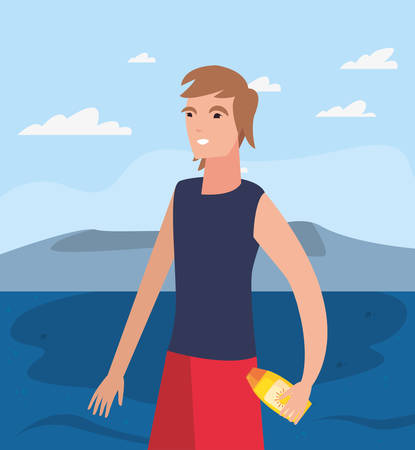 summer time holiday man with sunblock vector illustration