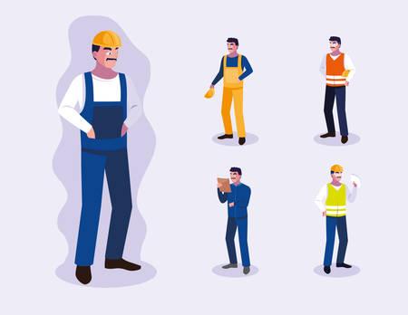 Conjunto de diseño de trabajadores, trabajo, ocupación, persona, trabajo, empleado corporativo y servicio, tema, vector, ilustración