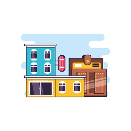 hotel building place with wallet vector illustration design  イラスト・ベクター素材