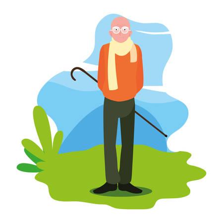 Feliz día de los abuelos - personaje de abuelo de pie al aire libre ilustración vectorial Ilustración de vector