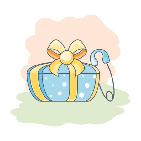 Crochet pince à linge mignon avec boîte-cadeau présente la conception d'illustration vectorielle Vecteurs