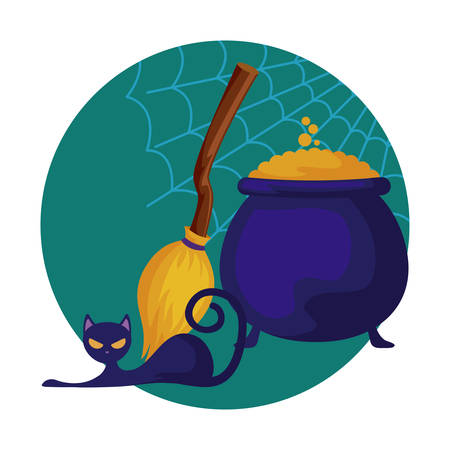 cauldron of halloween with broom witch and cat icon vector illustration design Ilustração