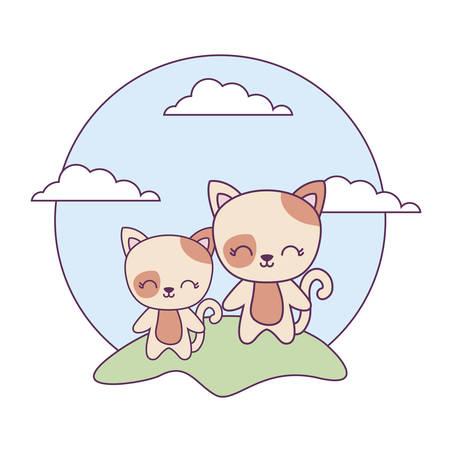 cute cats animals in landscape vector illustration design