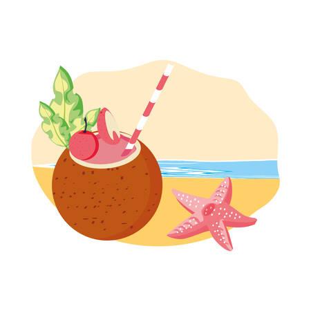 cute starfish animal in the beach with coconut cocktail vector illustration design Foto de archivo - 136792365