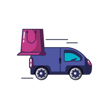van vehicle transportation with shopping bag vector illustration design