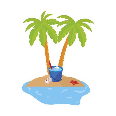 scena di costa estiva con palme e secchio d'acqua illustrazione vettoriale design Vettoriali