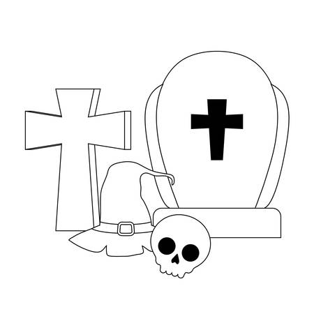 silhouette of graveyard tombstone with icons of halloween vector illustration design