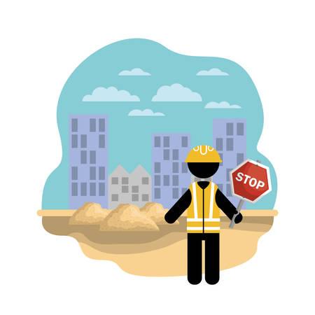 worker under construction place vector illustration desing