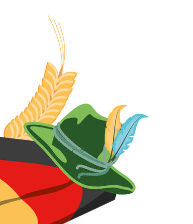 tyrolean hat and germany flag oktoberfest icon vector illustration design 矢量图像