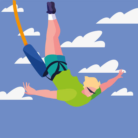 man fall with bungee jumping rope extreme sport and lifestyle vector illustration